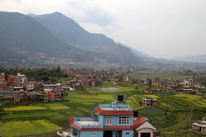 Kathmandu Valley Bungamati Blick Bungamati Kathmandu Kathmandu Valley Kathmandu, Nepal Mountains Rice Fields  View