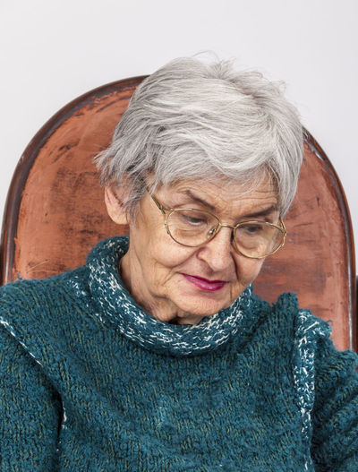 Portrait of a senior woman. Aged Close-up Elderly Elderly Woman Expression Eyeglasses  Face Front View Gray Hair Headshot Old One Person One Senior Woman Only Pensioner People Portrait Real People Retired Person Senior Adult Senior Women Wrinkled Wrinkled Face