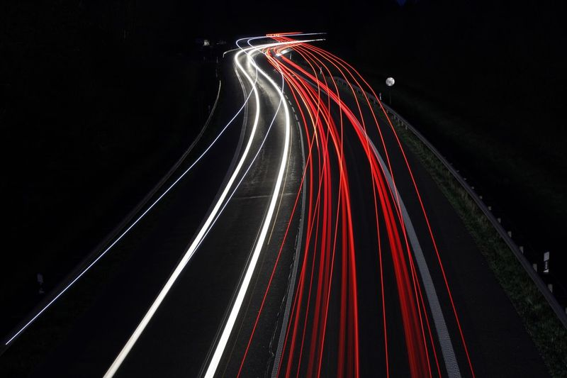 Speed Light Trail Red Night Illuminated Outdoors Long Exposure Road Darkness Multi Colored Busy Tail Light
