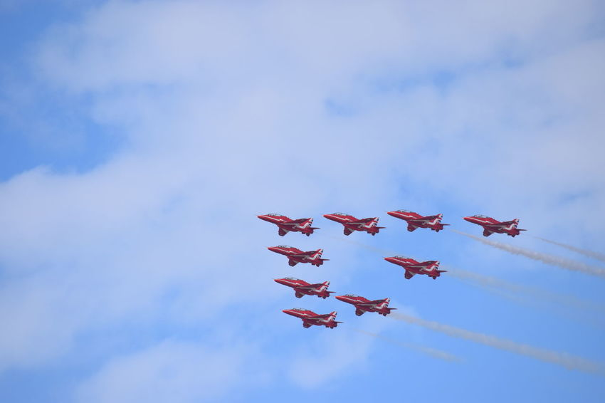 Southport Airshow 2016 Red Arrows Air Display Air Display  Airshow Blue Sky Cloudy Red Arrows Jetplanes Flying Formation Mid-air