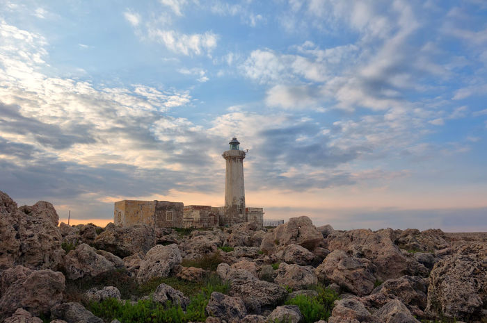 Cloud - Sky Lighthouse Rock Plemmirio Siracusa Sicily Italy Illuminated Blue History Monument Old Ruin Ancient Sky Architecture Landscape
