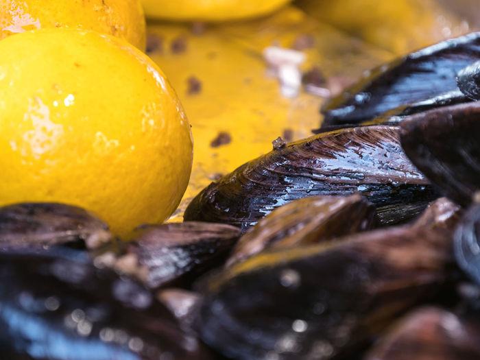 Close-up of orange fruits on table at market