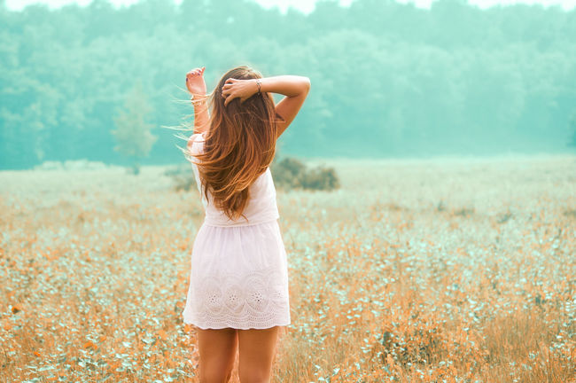 Field Happy Nature Trees Adult Blond Hair Casual Clothing Clothing Day Focus On Foreground Hair Hairstyle Land Leisure Activity Lifestyles Long Hair Nature One Person Outdoors Real People Rear View Standing Three Quarter Length Wahnerheide Women