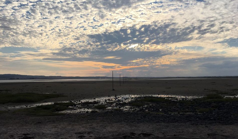 Lindisfarne Beach HolyIsland Sunset Tidal Shore Beach Tranquil Scene Scenics Water Cloud - Sky Sand Nature Calm Sky Coastline Beauty In Nature Outdoors