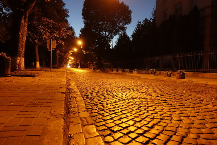 Architecture Cobblestone Electric Light Empty Streets Illuminated Night No People Perspective View Place To Breathe Silence Space Spirit Of The Past The Way Forward Typical Lviv