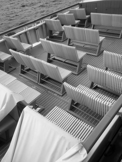 High angle view of seats in boat