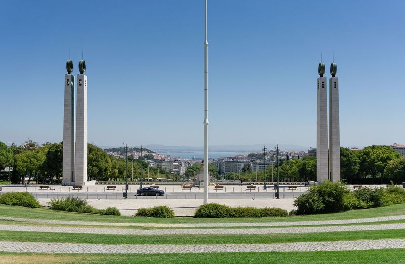 Scenic view of park against clear sky