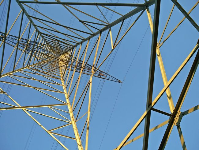 Blue Built Structure Clear Sky Electricity  Electricity Pylon Low Angle View Metal Power Line  Power Supply Simplicity Sky Technology