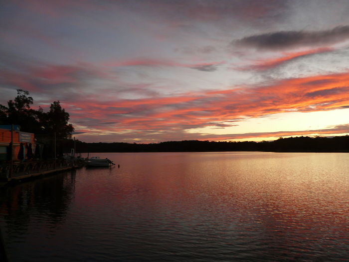 Beauty In Nature Calm Cloud Cloud - Sky Cloudy Dramatic Sky Idyllic Lake Majestic Nature Orange Color Outdoors Red Sky Remote Rippled Scenics Sky Sunset Tranquil Scene Tranquility Tuross Boatshed Tuross Lake Water