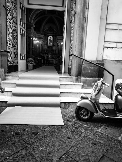 Wedding day Flowers Italy Vespa Wedding Sorrento Bw Lover BW Transcience Bw Photography Bw Architecture Built Structure Building Exterior Building Arch Day Entrance Door Corridor Outdoors City