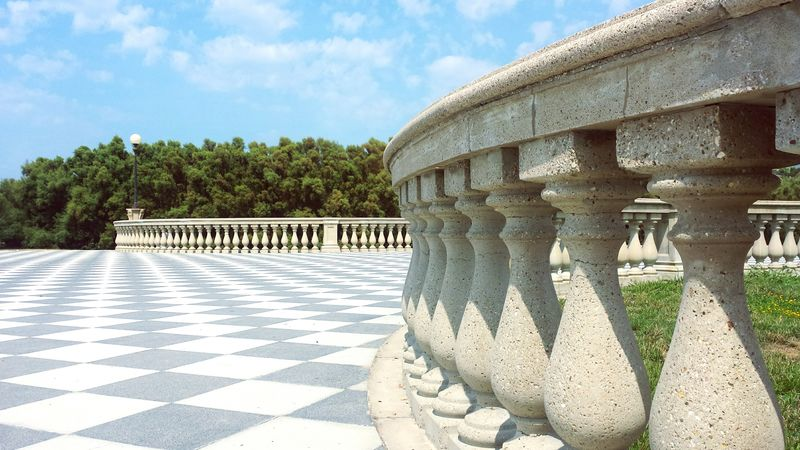 Sky Architecture Monument Architectural Column Paving Stone Tranquility Tourism Terrazza Mascagni Mascagni Square Blue Repetition Architecture Flooring Tiled Floor Day