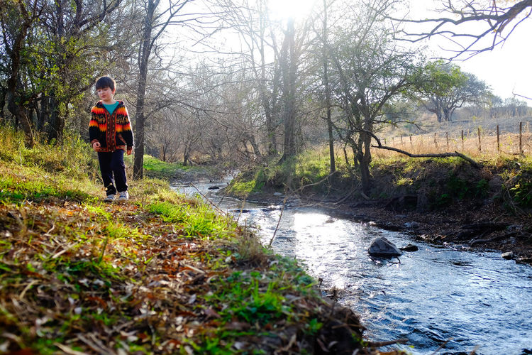 COMUNA DE LAS BAJADAS Niñosfelices Niños Jugando Jugar Invierno Hojas Caminando Tree Plant Water Nature Forest Day Full Length One Person Land Standing River Leisure Activity Lifestyles Adult Grass Casual Clothing Outdoors Stream - Flowing Water WoodLand