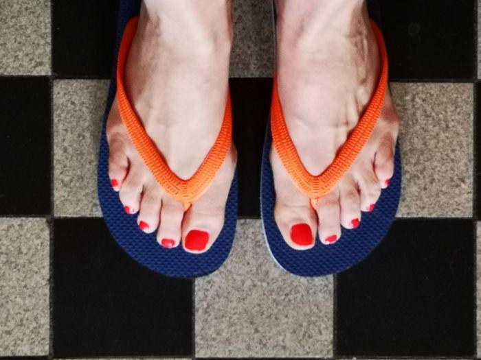 Summerfeeling... Sunny Spring Day EyeEm Summer Woman Feet Low Section Standing Human Leg Sock Shadow Human Foot Close-up barefoot Nail Polish Flip-flop Red Nail Polish