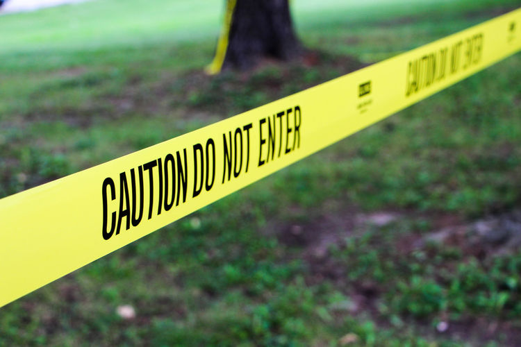 Caution tape at park