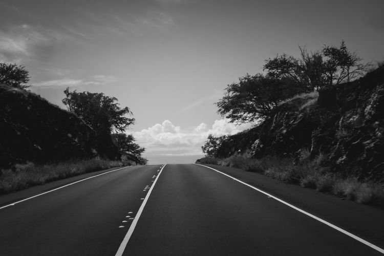 Black and white Road to nowhere. Road Direction No People Empty Road Tranquility Outdoors Long Blackandwhite Bw