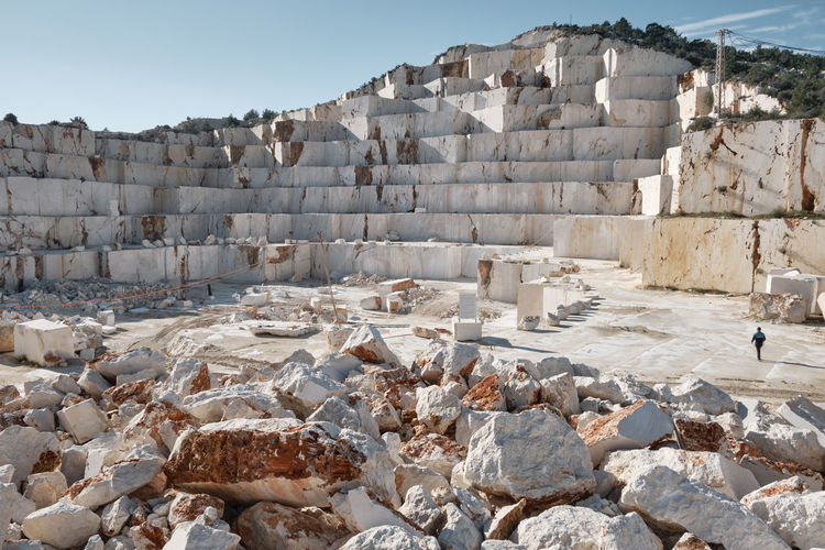 Marble quarry. ledges of excavated marble stone material at mediterranean region of mersin, turkey