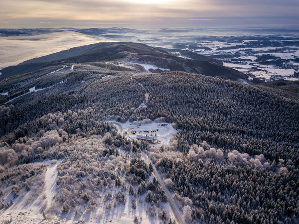 Czech Czech Republic Beauty In Nature Cloud - Sky Cold Temperature Day Fromwhereidrone Jested Landscape Liberec Mountain Nature No People Outdoors Scenics Sky Snow Sunset Tranquil Scene Tranquility Tundra Winter