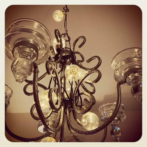 Low angle view of chandelier