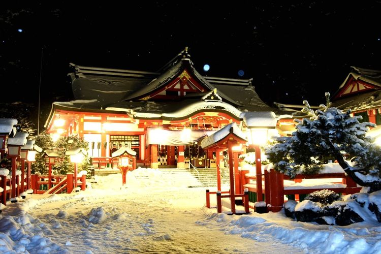 Night Illuminated Arts Culture And Entertainment Built Structure Outdoors Winter Cold Temperature Snow No People