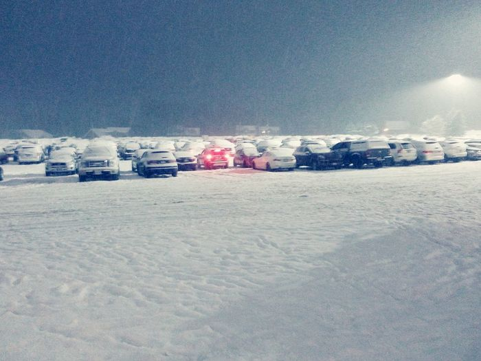 Snow covered cars parking lot Winter Snow Cold Temperature Outdoors No People Landscape Snowing Red Car Lights Red White background
