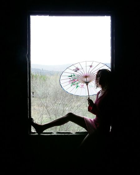 Oldie But Goodie Parasol Abandoned Places At The Window Pink That's Me Backlighting Playing With Shadows