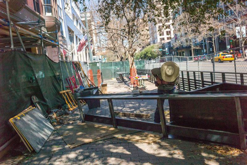 Austin Texas Congress Avenue Construction Site Construction Worker Cowboy Hat Drilling Shadow Work