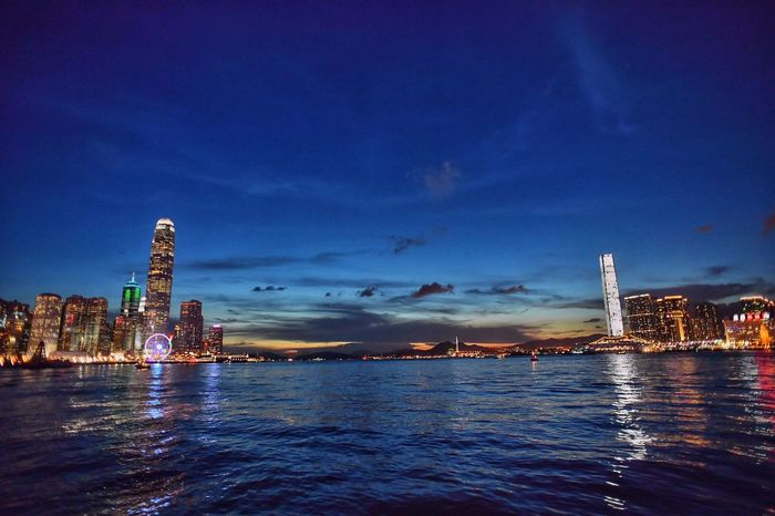 Twilight of My hometown Twilight Hometown HongKong Hong Kong Victoria Harbour IFC ICC Harbour Sunset Vanilla Sky Lovely City Charming