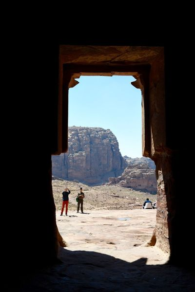 Jordan Petra Architecture Beauty In Nature Built Structure Clear Sky Day Full Length Leisure Activity Lifestyles Men Mountain Nature One Person Outdoors People Real People Scenics Sky Standing Sunlight Travel Destinations