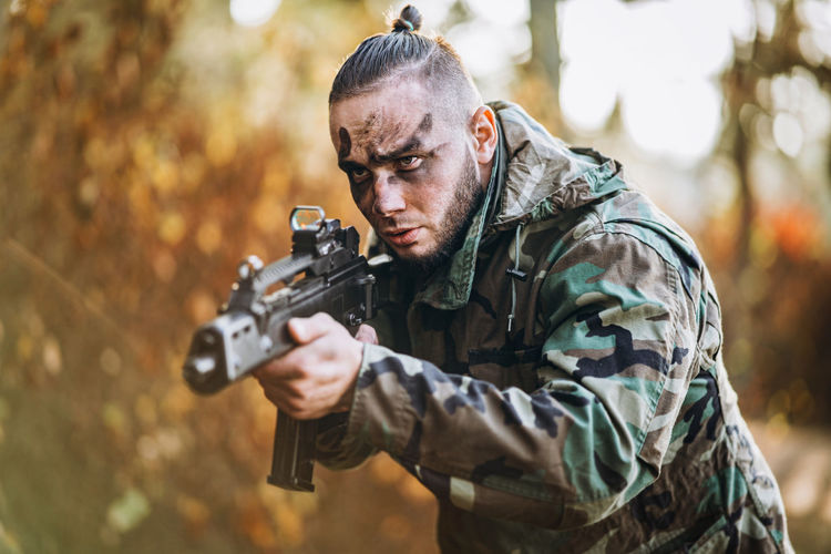 View of soldier in forest