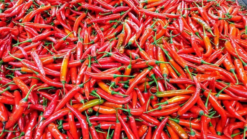 Red Backgrounds Spice Food Chili Pepper Large Group Of Objects Food And Drink Freshness No People Chillis