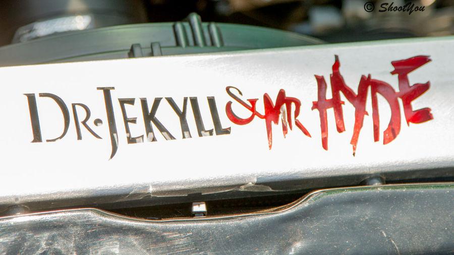 High angle view of text on metal