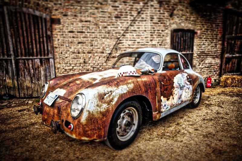 Leica Porsche Porsche Oldtimer Vintage Photooftheday Blue Brown Steel Racing Race No People Classic Car Classic Damaged Brick Wall Outdoors Leicam Car Rusty Dirty