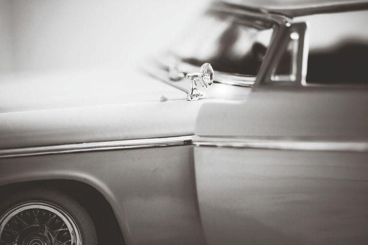 Tilt-shift image of collector car