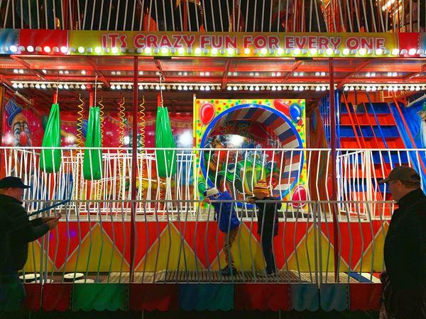 Fun house at the park Fun House Children Fairground Multi Colored Amusement Park Arts Culture And Entertainment Decoration Illuminated