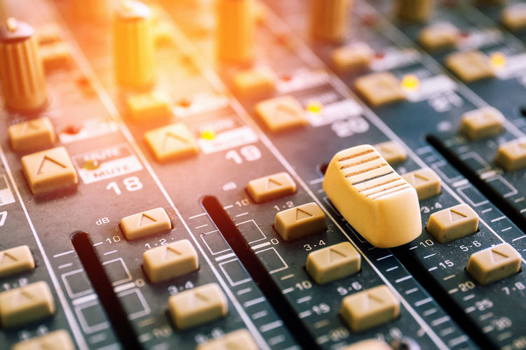 Close-up Control Panel Day Indoors  Mixing Music No People Recording Studio Selective Focus Sound Mixer Sound Recording Equipment Technology