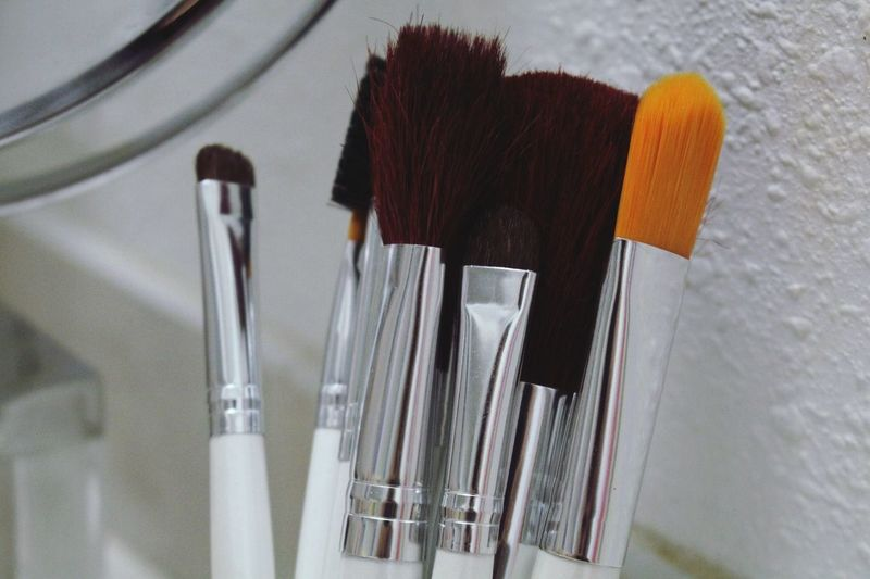 Close-up of make-up brushes at home