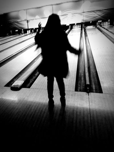 One Person Long Hair One Woman Only Bowling Black & White