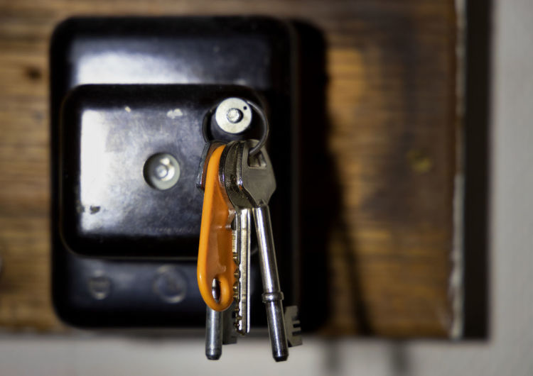 apartment keys on vintage fuse box Old-fashioned Retro Styled Old Black Color Selective Focus Single Object Still Life Equipment Close-up Indoors  Focus On Foreground No People FUSE Fuse Box Keys