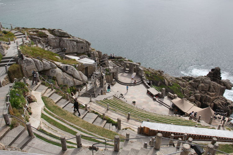 Minak Theatre Cornwall England Architecture Building Exterior High Angle View Outdoors Outside Theatre People Sea Sky Theater Travel Destinations Lost In The Landscape