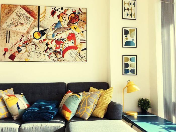 London No People Art And Craft Pillow Indoors  Wall - Building Feature Creativity Architecture Furniture Sofa House Home Interior Multi Colored