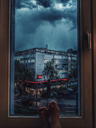 my favorite TV Thunderstorm Safe Safe Space Tokyo Lounge Düsseldorf Water Low Section Looking Through Window Window Personal Perspective Glass - Material Close-up Sky Architecture Glass Rainy Season RainDrop Rainfall Wet Rain Drop