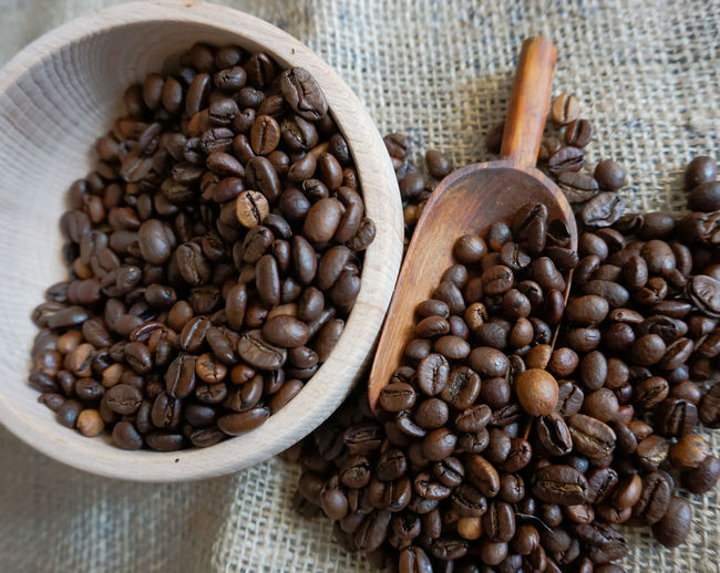 Food And Drink Food Freshness Coffee - Drink Roasted Coffee Bean Coffee Indoors  Brown No People Still Life Sack Large Group Of Objects Close-up Table Kitchen Utensil Abundance Spoon Bean Focus On Foreground High Angle View Wooden Spoon Caffeine
