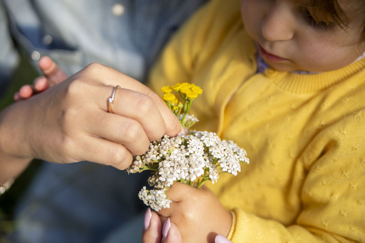 Mom and daughter study flowers yarrow close-up