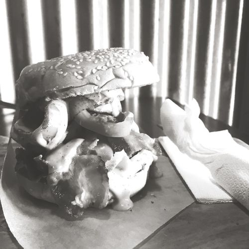 Bacon Mushroom Burger Check This Out Food Foodphotography Burgers Enjoying Life Blackandwhite Rainy Days Bacon!