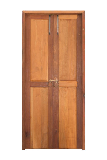 Solid Wood Front Entry Double Doors Double Doors Wood - Material Brown White Background Door No People Wood Indoors  Entrance Closed Cut Out Safety Pattern Architecture Studio Shot Security Protection Close-up Built Structure Single Object