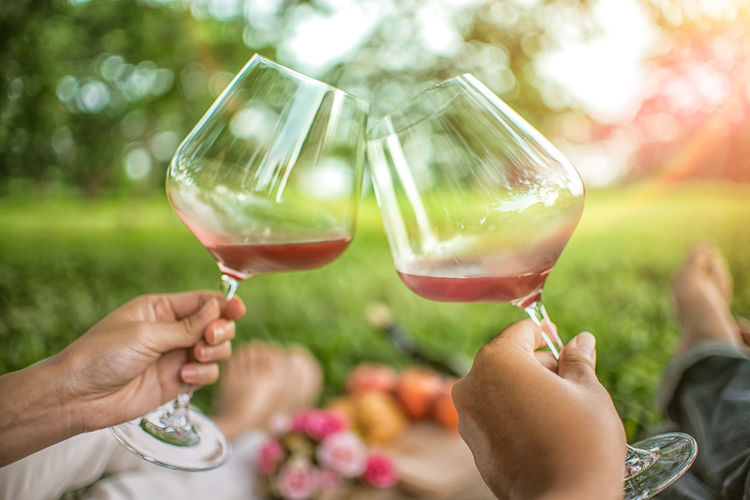 Alcohol Body Part Celebration Celebratory Toast Drink Finger Focus On Foreground Food And Drink Glass Group Of People Hand Holding Human Body Part Human Hand Human Limb Leisure Activity Lifestyles Outdoors People Real People Red Wine Refreshment Wine Wineglass