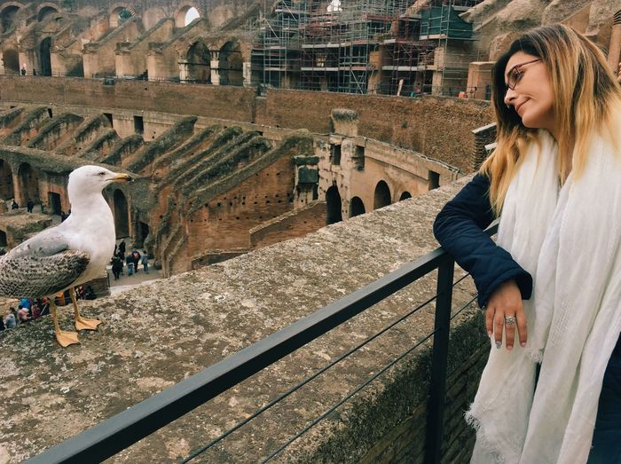 Young female tourist looking at seagull perching on retaining wall at coliseum