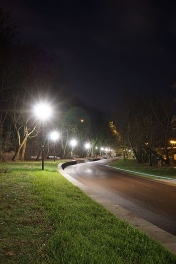 Illuminated street lights on road in city at night