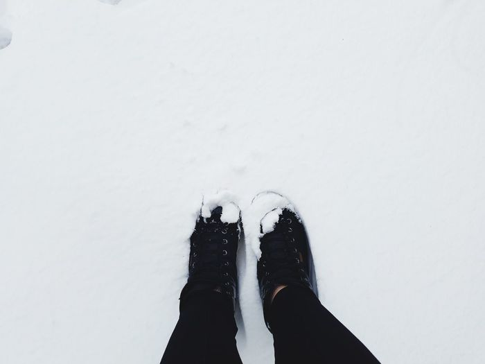 Low section of person in snow