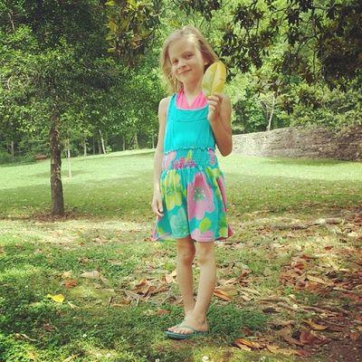 Madisyn found a big ole leaf! Memorialday2014